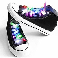 Mrupoo Multicolor LED Shoelaces Light Up Nylon Shoestring Lighting the Night for Christmas Party Hip-Pop Dancing Cycling Running Walking