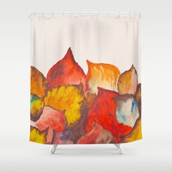 Autumn abstract watercolor 02 Shower Curtain by ViviGonzalezArt