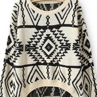 Long and Short In Front Geometry Sweater For Woman
