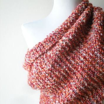 The Oversized Unisex Chunky Cowl Hooden scarf Circule Large Extra long Neckwarmer Hand knited