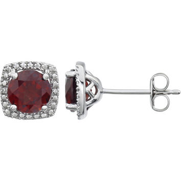 Sterling Silver Mozambique Garnet & .015 CTW Diamond Halo-Style Earrings