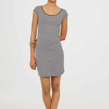 Short-sleeved jersey dress - Dark grey/White striped - Ladies | H&M GB