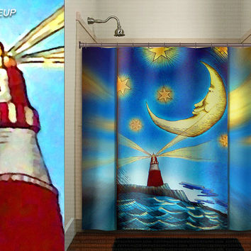 lighthouse moon ocean whimsical nautical shower curtain kids bathroom decor bath fabric window curtains panel bathmat rug towel extra long