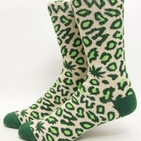 Odd Future, Domo Cheetah Sock - Green - Accessories - MOOSE Limited