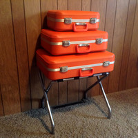 Trojan Hard Shell Nesting or Stacking Orange Suitcases - Clean - Accent Color Storage - Set of (3) Three