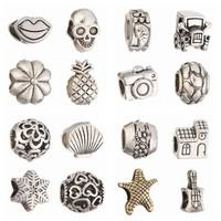 20pcs Silver Big Hole Loose European Spacer Beads Style Charms DIY Bead Fit Pandora Braclets Chain DKZ003