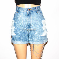 Acid Washed Denim Shorts, Vintage High Waisted Denim Shorts, Cuffed or Un-Cuffed Shorts, Distressed Vintage Shorts, Plus Size Denim Shorts