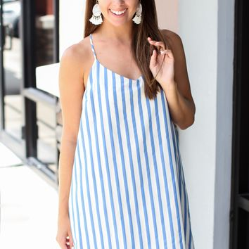 Long Time Stripe Dress - Blue