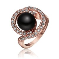 18K Rose Gold Plated Swarovski Elements Crystal Big Black Pearl Ring, Size 8