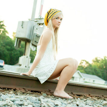 Extra Long Beanie Hat Yellow Sunflower and Charcoal Gray Striped Hat Teen Hats Fall Fashion Winter Hat
