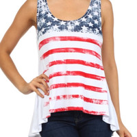 In Style Hi/Lo American Flag Tank Top
