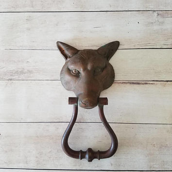 Antique Fox Door Knocker/ Antique door knocker/ vintage door knocker/ fox door knocker/ ring door knocker/ door knocker/ brass door knocker