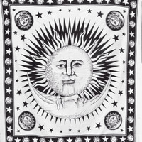 Black White Celestial Sun Tapestry Wall Hanging