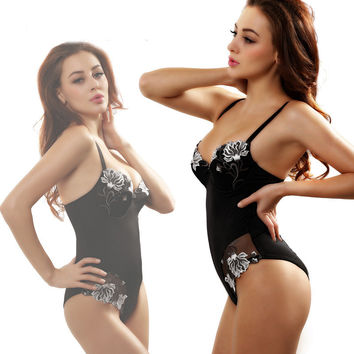 Flower Lace Solid Strap Bodysuit One Piece Swimwear Bikini Swimsuit