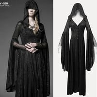 Goth Punk Rave Women's Coat Hooded Vampire Jacket Long Dress Witch Wgt