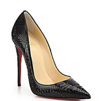 Christian Louboutin - Kristali Laser-Cut Patent Leather Pumps - Saks Fifth Avenue Mobile