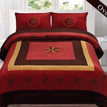 Western Burgundy Star Barbed Wire Design Borrego Fleece Comforter Style - 3 Piece Set
