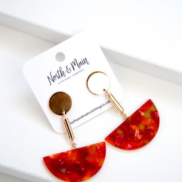 Balancing Drop Earrings, Red
