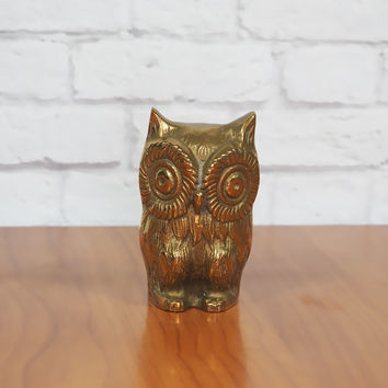 Vintage Solid Brass Owl Figurine or Paperweight