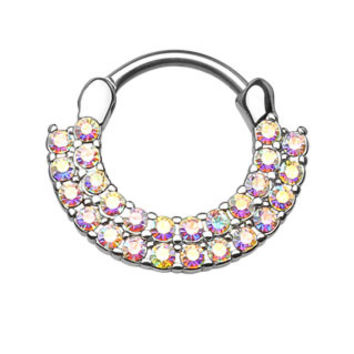 Lined Paved CZ Gems Round Septum Clicker