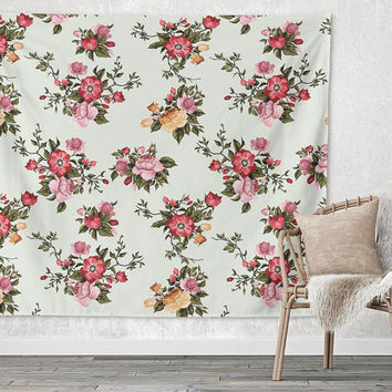 White Flowers Floral Pattern Trendy Boho Wall Art Home Decor Unique Dorm Room Wall Tapestry Artwork