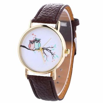Xiniu 2017 Fashion Causal Dress Watches Women Owl Pattern PU Leather Belt Strap Quartz Wrist Watch relogio feminino Clock Hours