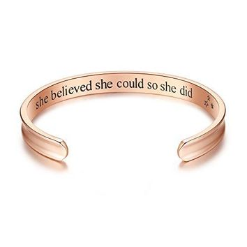 Studiocc She Believed She Could So She Did Inspirational Cuff Bracelets Jewelry for Women Mom Girl