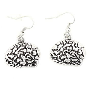 Human Brain Earrings Silver Tone EI69 Dangle Cranium Fashion Jewelry