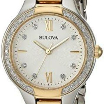 Bulova Women's Quartz Stainless Steel Casual Watch, Color:Two Tone (Model: 98R221)