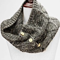 Knitted Button Infinity Scarf Gray