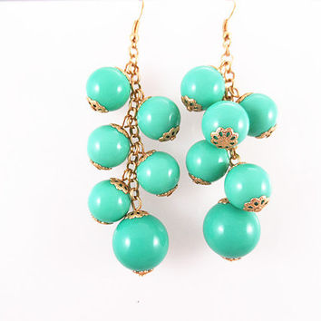 Classic bubble earrings,bead bubble earrings.10 colors available / turquoise blue yellow green gray navy black hot pink red brown earrings