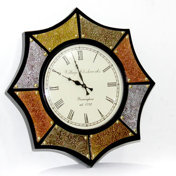 Aakashi Ashtkon Mix Metal Wall Clock