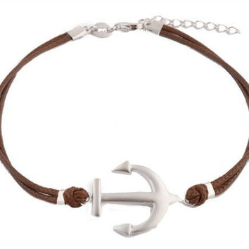 925 Sterling Silver Brown with Silver Anchor Adjustable Bracelet