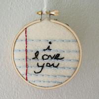 i love you note hand  embroidered mini hoop art wall hanging