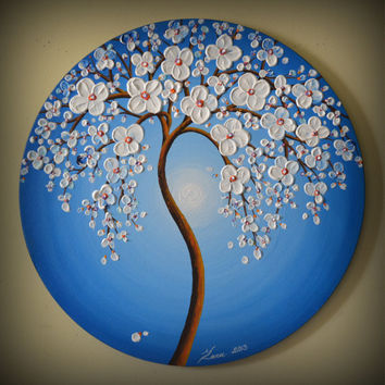 "ORIGINAL Fine Art Modern Tree Painting Blue Landscape Home Decor 20"" Round Canvas Abstract Heavy Texture White Flowers Palette Knife Artwork"