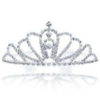 Christmas Gifts Rhinestone Flower Headpiece Crown Tiara Silver Plated