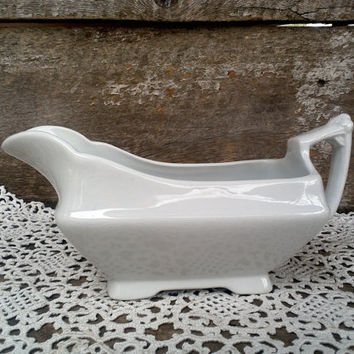 IRONSTONE GRAVY BOAT, Stoneware, Vintage Farmhouse Antique Primitive Glazed, Pottery, Earthenware, Serving Pitcher, Creamer, Gravyboat