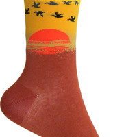 Sunset Crew Socks in Orange and Gold