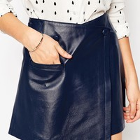 ASOS Leather Wrap Mini With Buttons