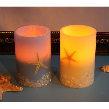 Led Flameless Candle With Timer, Sea Star And Shell Pillar