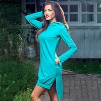 Chilly Summers - Tiffany Blue Hoodie-Dress