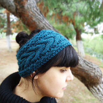 Women's knit headband, cable knit winter headband, knit wool ear warmer,womens knit head wrap,hand knitted wide headband,womens accessories