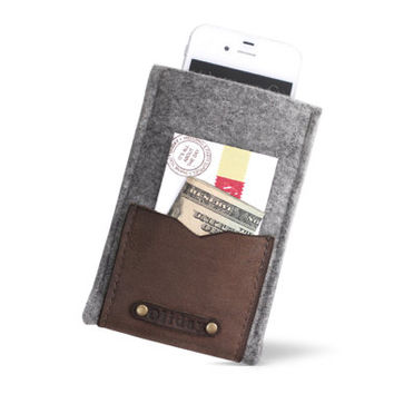 "W1021 Wool Felt Pouch ""100% Wool felt & Leather """