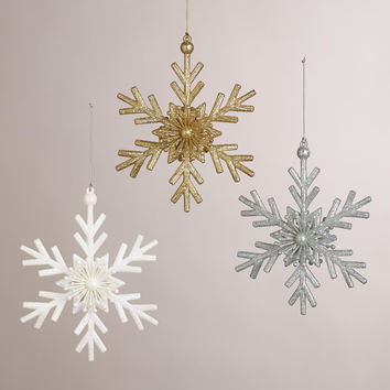 Glittered Twig Snowflake Ornaments, Set of 3 - World Market