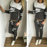 """Nike"" Women Casual Multicolor Letter Print Hooded Long Sleeve Trousers Set Two-Piece Sportswear"