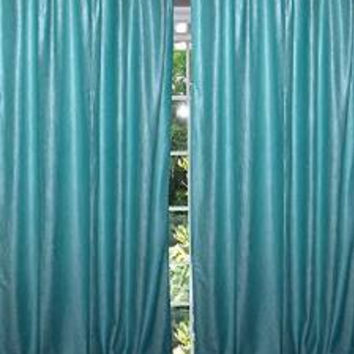 "Aero Blue Tab Top Velvet Curtain / Drape / Panel- Pair Indian Window Treatment (Size: Length: 84"".)"