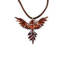 Phoenix Necklace, Phoenix Pendant, Phoenix Jewelry, Firebird Necklace, Firebird Pendant, Carved Wood Phoenix Necklace Pendant, Wood Jewelry