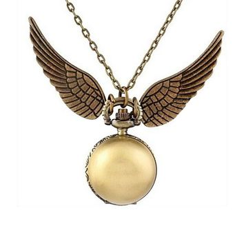 Flying Thief Retro Pocket Watch Wings Light Ball Pocket Watch Necklace Fashion Fashion Hanging Watch
