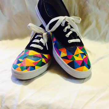 Geometric Pattern Custom Keds or Vans Triangle Rainbow Multi-Color Painted Keds Shoes