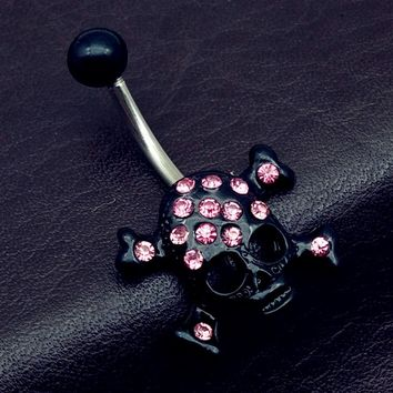 Surgical Steel Black with pink rhinestone Skull Dangle Belly Ring Piercing